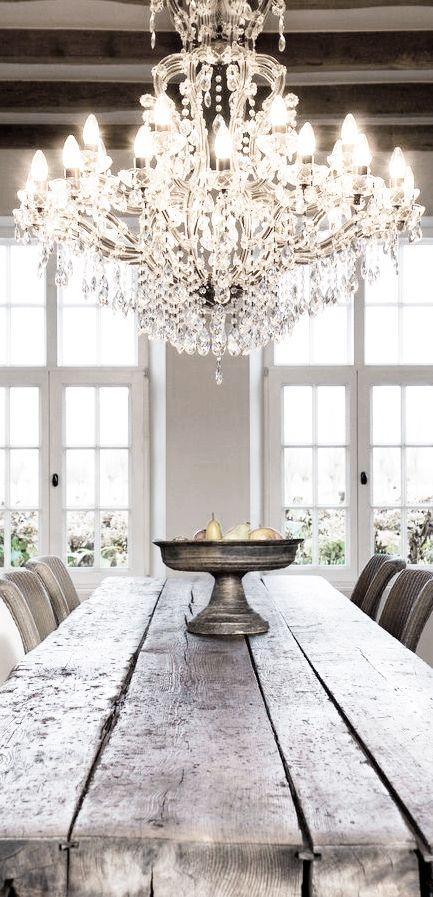 chandelier, reclaimed wood