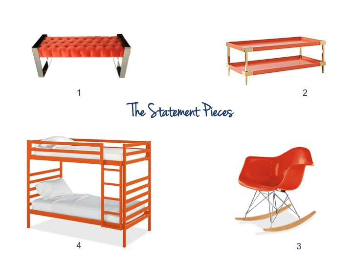 Serena & Lily, Room & Board, Bunk Beds, Bench, eames, Orange, color crush