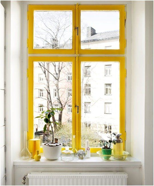 Yellow window, apartment therapy